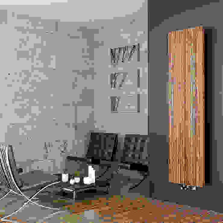 Radiatore design fino a 2400 Watt con cover in vero legno Woodstyle di Viadurini Moderno Alluminio / Zinco