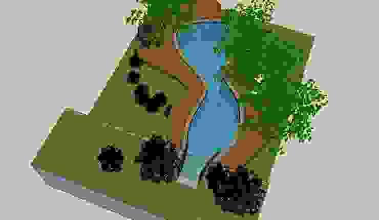 Projeto do deck de madeira junto a piscina por Recyklare Projetos de Arquitetura , Restauro & Conservação
