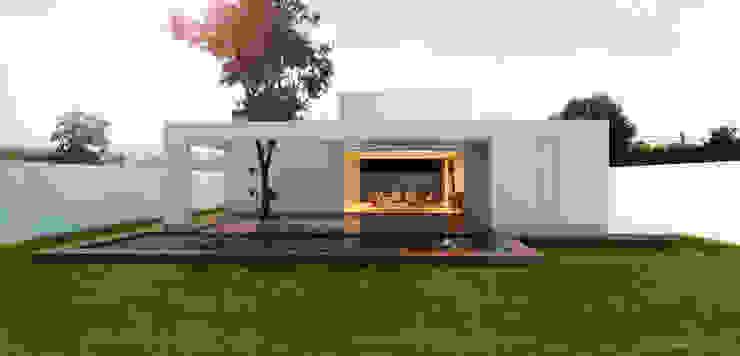 Vista da Piscinia: Casas  por A Pino Arquitetos,Moderno Concreto