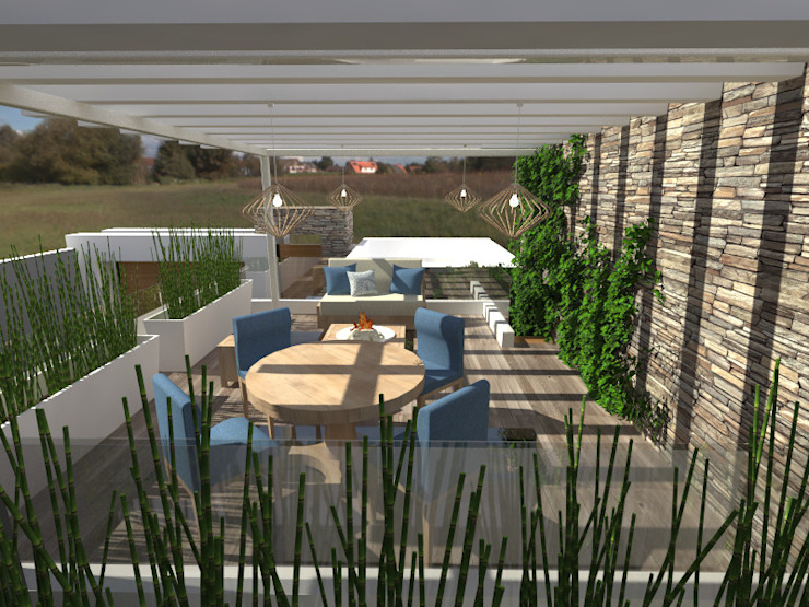 Terraza Superior Arqternativa Balcones y terrazas modernos Madera Gris