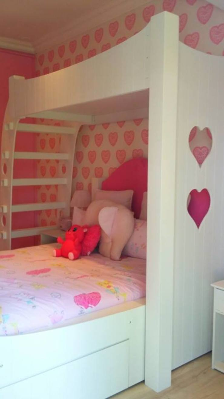 Custom Bed design for teenage girl inspired by the wallpaper by CKW Lifestyle Associates PTY Ltd Colonial Solid Wood Multicolored