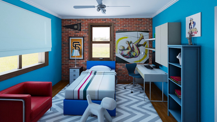 Teenager boy's room by CKW Lifestyle Associates PTY Ltd Industrial Wood-Plastic Composite