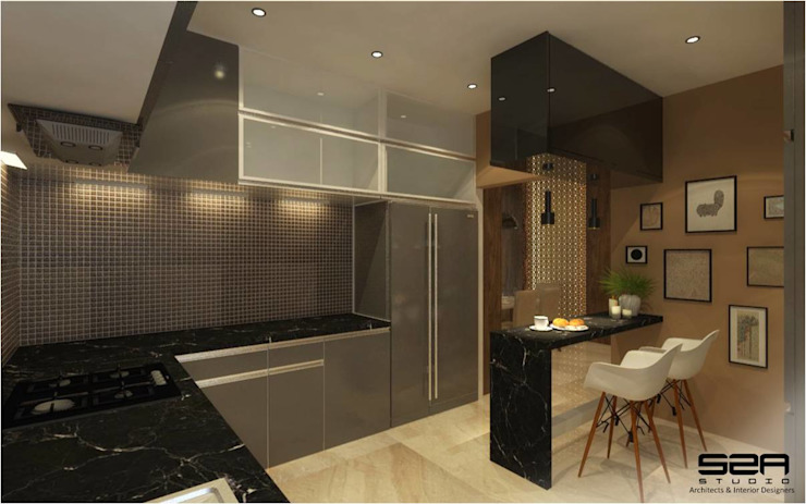 Residential Apartment :  Kitchen by S2A studio,