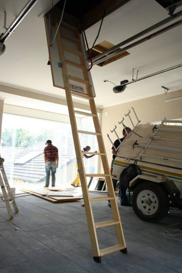 Folding ladder and storage floor minimalist garage/shed by Loftspace Minimalist