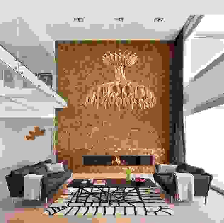 Casa Sant Feliu de Guíxols SOLER-MORATO ARQUITECTES SLP Salones de estilo mediterráneo Derivados de madera Marrón