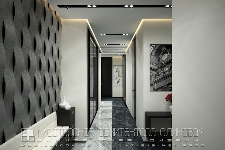 Modern Corridor, Hallway and Staircase by Мастерская архитектора Аликова Modern
