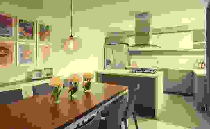 Apto Felisa Maria Mentira Studio Cocinas modernas Aglomerado Acabado en madera