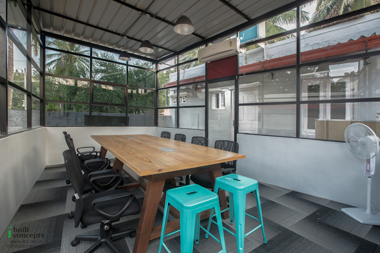 temporary office Setup—Industrial look on 2400 sft land—Refurbishment : rustic  by In Built Concepts is now FABDIZ,Rustic Wood Wood effect