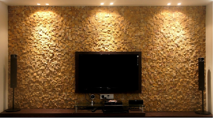 Teak Sandstone Rockface Pixel Stacking Modern living room by HOUZDECOR Modern Sandstone