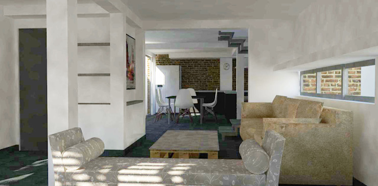 Vusta desde estar a cocina Livings de estilo moderno de DIMA Arquitectura y Construcción Moderno