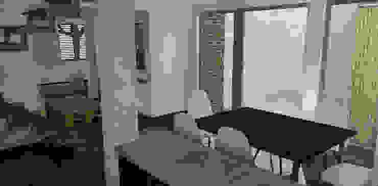Vista desde cocina a hall acceso Cocinas de estilo moderno de DIMA Arquitectura y Construcción Moderno