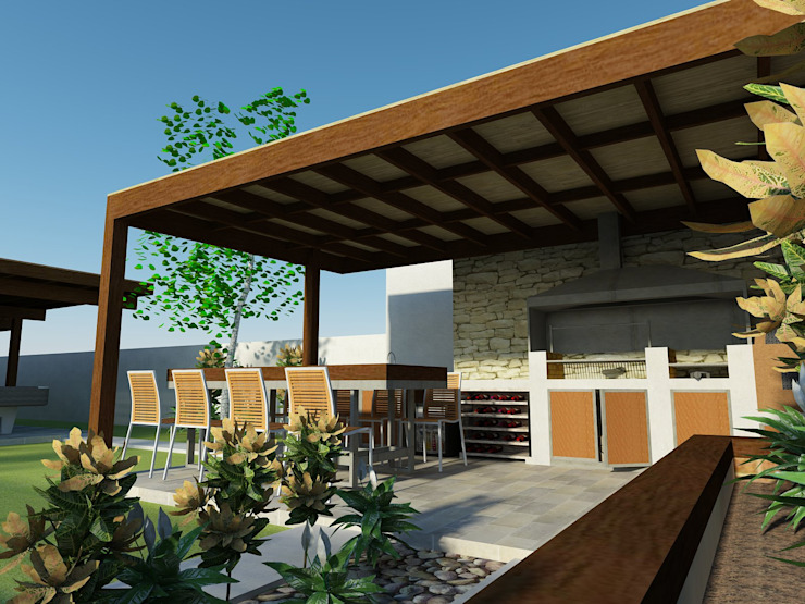 Vista al quincho Balcones y terrazas mediterráneos de DIMA Arquitectura y Construcción Mediterráneo