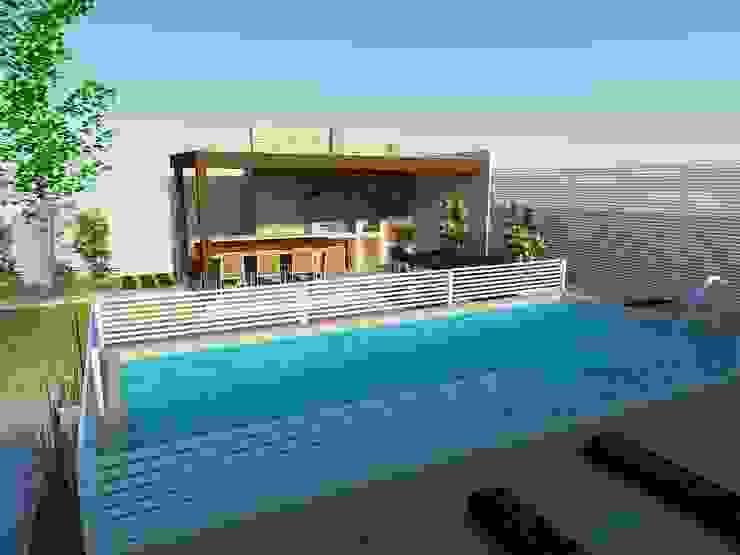 Piscina y quincho Balcones y terrazas mediterráneos de DIMA Arquitectura y Construcción Mediterráneo