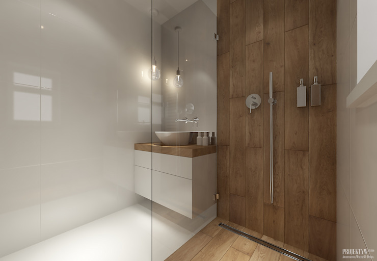 Scandinavian style bathroom by PRØJEKTYW | Architektura Wnętrz & Design Scandinavian
