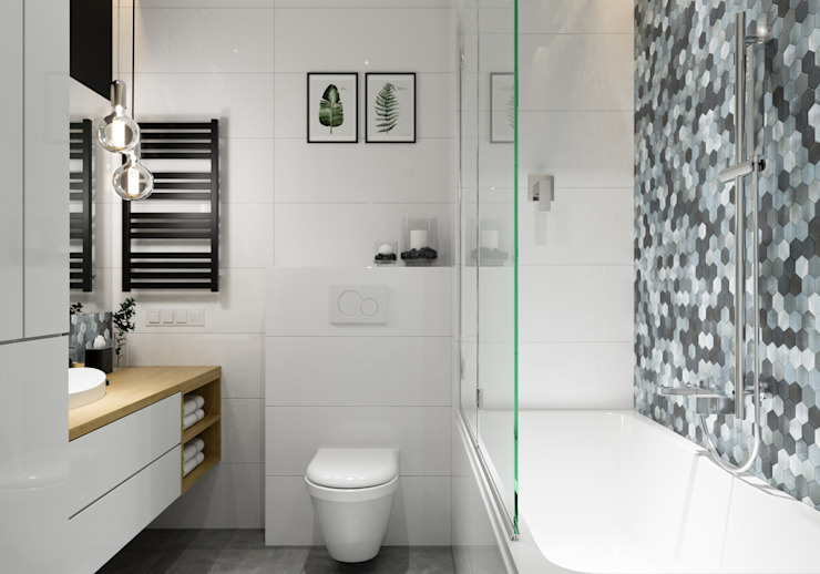 حمام تنفيذ PRØJEKTYW | Architektura Wnętrz & Design, إسكندينافي