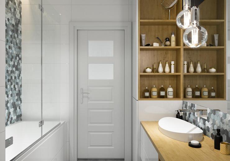 Scandinavian style bathrooms by PRØJEKTYW | Architektura Wnętrz & Design Scandinavian