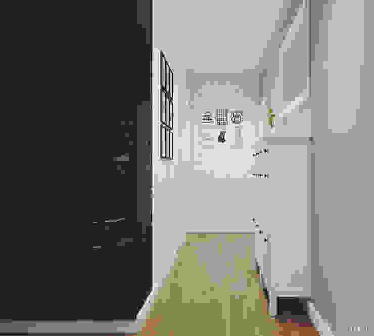 斯堪的納維亞風格的走廊,走廊和樓梯 根據 PRØJEKTYW | Architektura Wnętrz & Design 北歐風