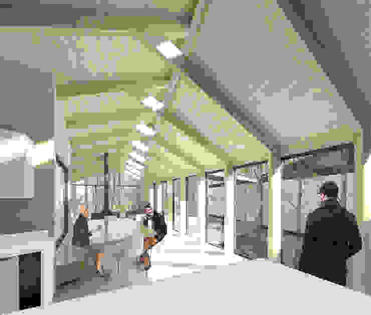 Vista desde cocina Pasillos, vestíbulos y escaleras modernos de GAALGO Arquitectos Moderno