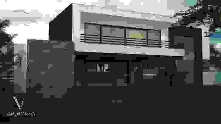 Fachada Posterior Casas modernas de V Arquitectura Moderno