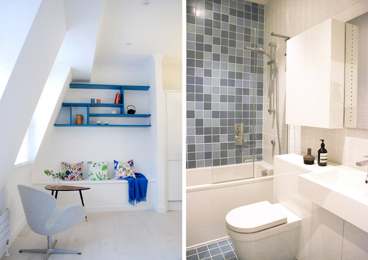 Tiled Bathroom and Colourful Living Space Modern bathroom by Collective Works Modern