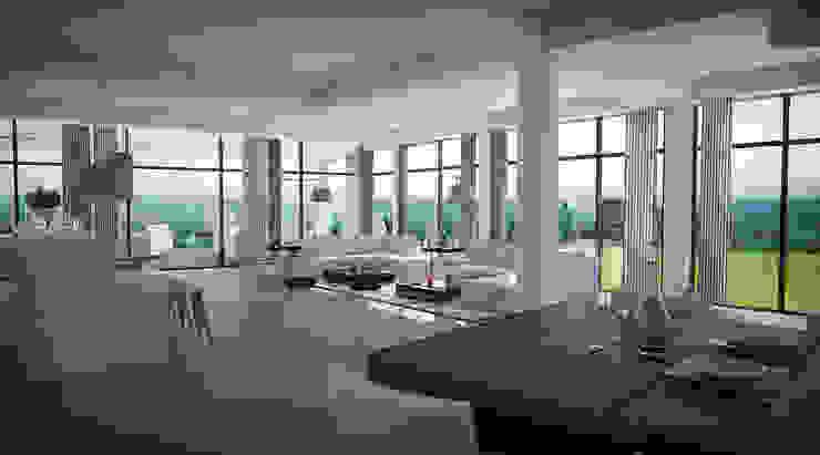 Vivian Dembo Arquitectura Modern living room Marble White
