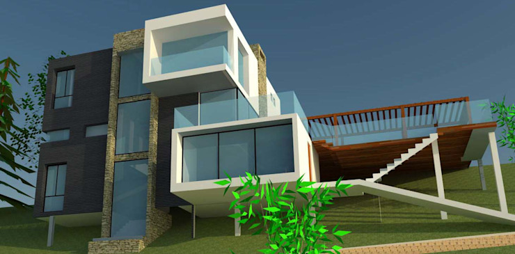 H2H arquitectos Minimalistische huizen IJzer / Staal Zwart