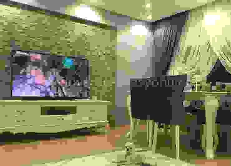 Tv ünitesi arkası doğal taşlarla dekorasyon Tayba Mermer Akdeniz Taş