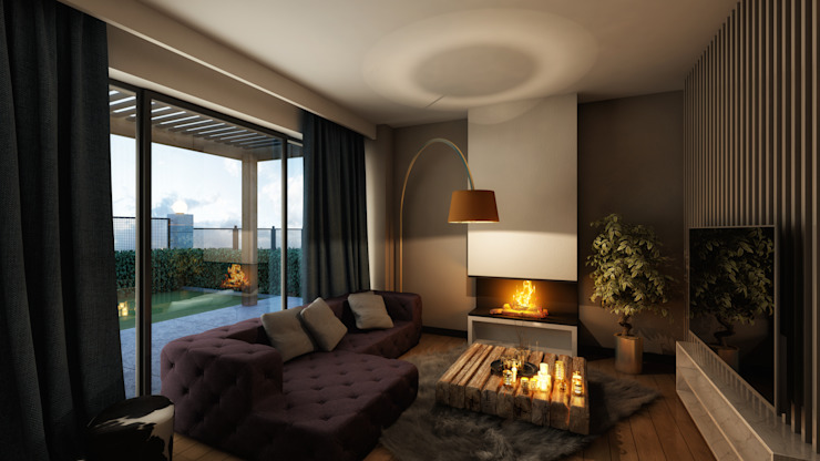 Kabu Desıgn – Saklıbahçe Oturma Odası: modern tarz , Modern