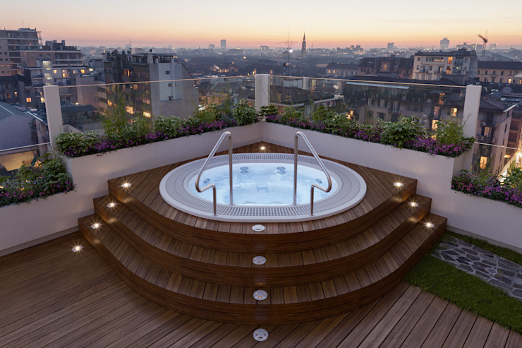 Annalisa Carli Modern Balkon, Veranda & Teras İşlenmiş Ahşap Rengarenk