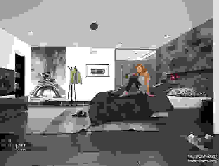 Residencia Bahia ST-María Recámara 01 Dormitorios minimalistas de 3D MarqJes arquitecto Minimalista Madera maciza Multicolor