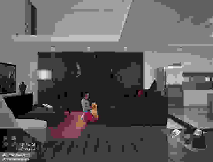Residencia Bahia ST-María Sala Salones minimalistas de 3D MarqJes arquitecto Minimalista Madera Acabado en madera