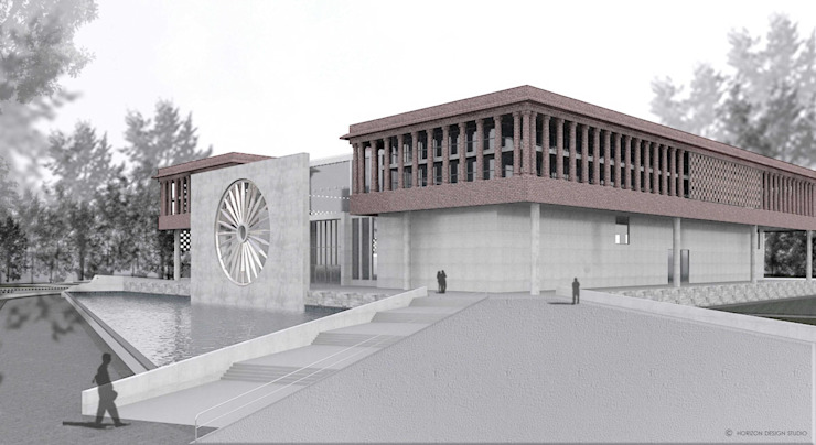 FRONT AND EAST SIDE VIEW OF PROPOSED WAR MUSEUM: colonial  by Horizon Design Studio Pvt Ltd,Colonial
