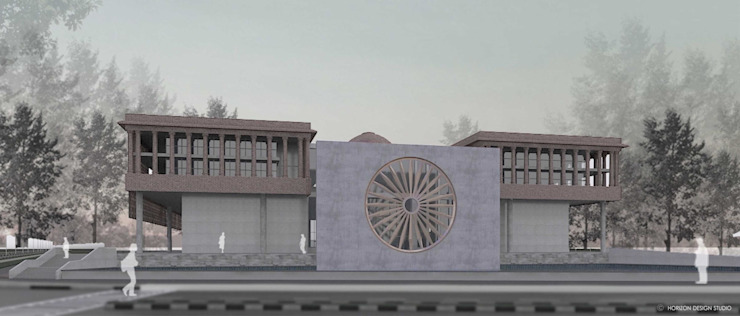 FRONT VIEW OF PROPOSED WAR MUSEUM FROM HEXAGON ROAD - INDIA GATE: colonial  by Horizon Design Studio Pvt Ltd,Colonial