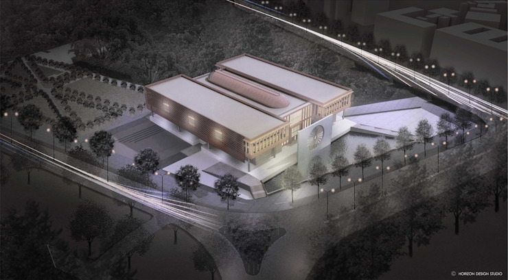 AERIAL CGI OF PROPOSED INDIAN NATIONAL WAR MUSEUM: colonial  by Horizon Design Studio Pvt Ltd,Colonial