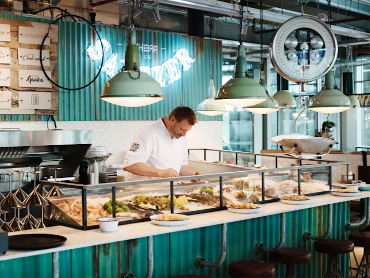 Grand Central Food Market | Interieur Ontwerp Bar – Restaurant Industriële gastronomie van Tubbs design Industrieel