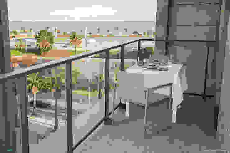 Scandinavian style balcony, veranda & terrace by Pia Estudi Scandinavian