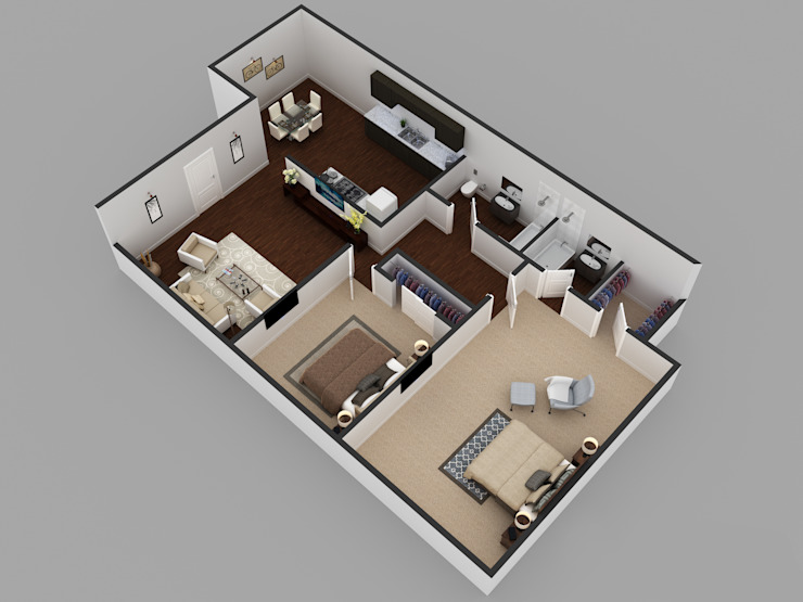 2Bhk Residential Modern House Floor Plan の KCL-Solutions