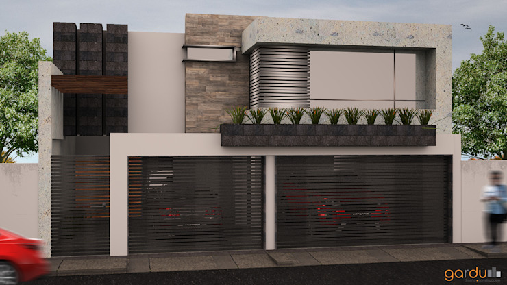 Fachada principal GarDu Arquitectos Casas minimalistas Piedra