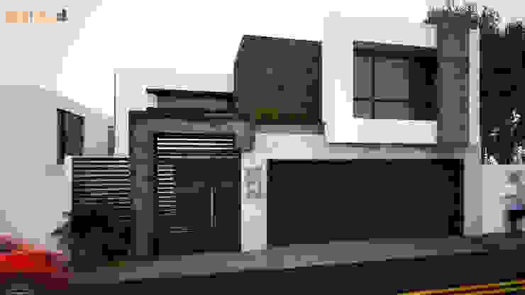 Fachada Minimalista Casas de estilo minimalista de GarDu Arquitectos Minimalista Piedra