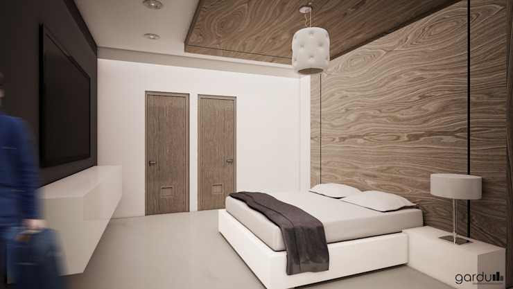 Recamara pequeña Dormitorios minimalistas de GarDu Arquitectos Minimalista Piedra