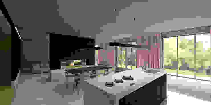 Keuken met eethoek Moderne keukens van De Nieuwe Context Modern IJzer / Staal