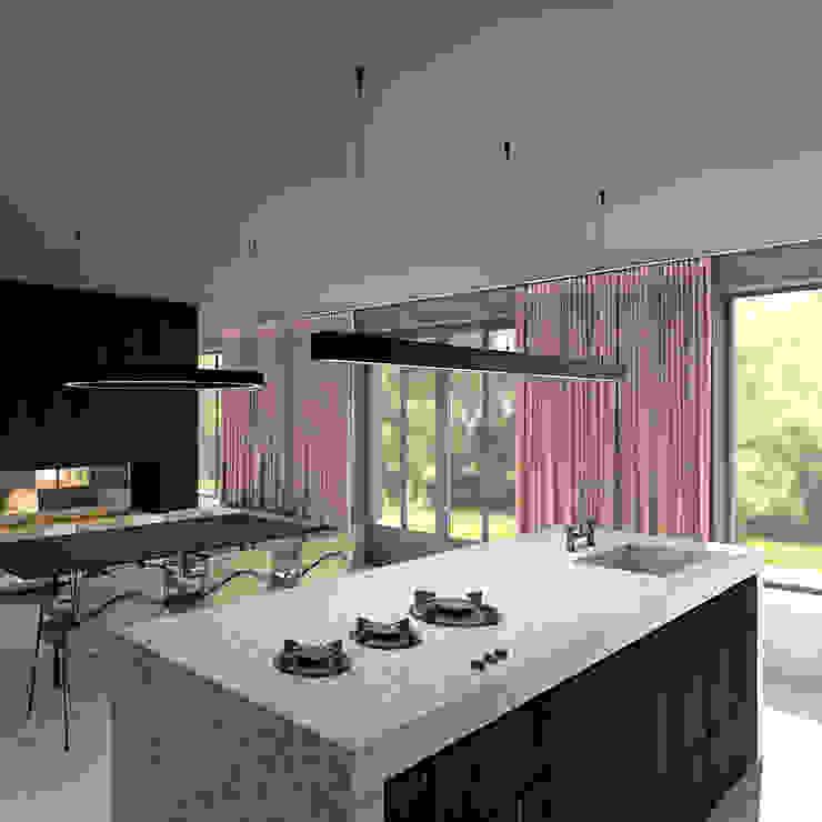 Keuken met kookeiland Moderne keukens van De Nieuwe Context Modern Steen