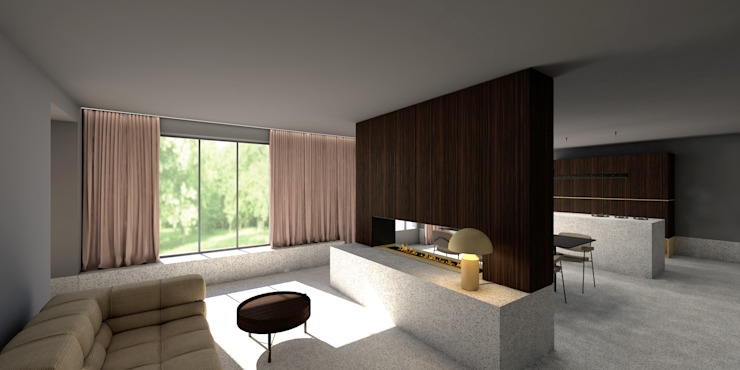 Open leefruimte Moderne woonkamers van De Nieuwe Context Modern Marmer