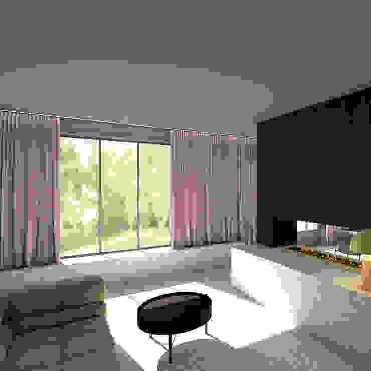 Zithoek met haard Moderne woonkamers van De Nieuwe Context Modern IJzer / Staal