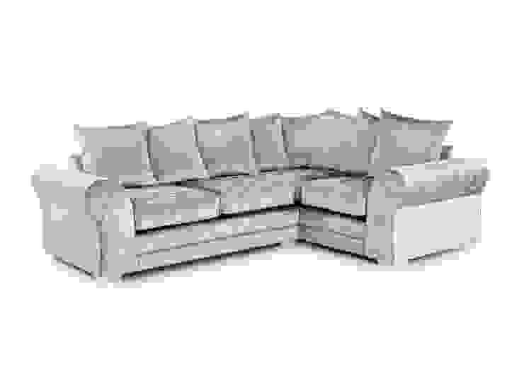 Crushed Velvet Corner Sofas Silver And