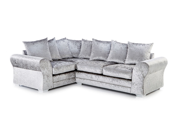 Silver Crushed Velvet Corner Sofa de Sofas In Fashion Moderno