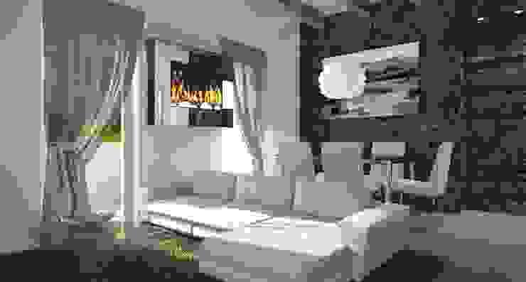 Soggiorno con parete in pietra, camino a bioetanolo e tappeto shabby chic Architettiamo Progetti On-Line Soggiorno moderno