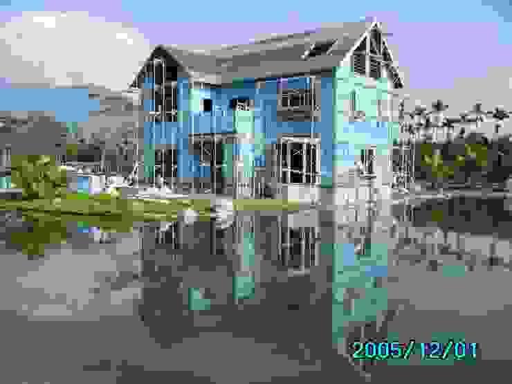 牆面斷冷斷熱材施作(藍色) 根據 台灣環球住宅股份有限公司