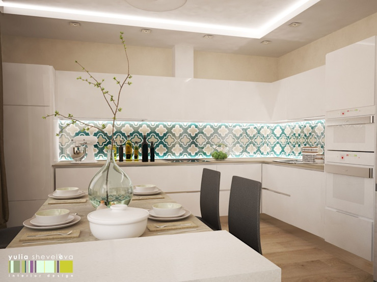 ГЕОМЕТРИЯ ЦВЕТА Кухня в стиле минимализм от Мастерская интерьера Юлии Шевелевой Минимализм