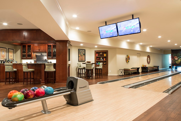 Riverside Retreat - Bowling Alley Eclectic style media room by Lorna Gross Interior Design Eclectic